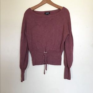 Express | Slouchy Sweater Lace Up Bottom Detail